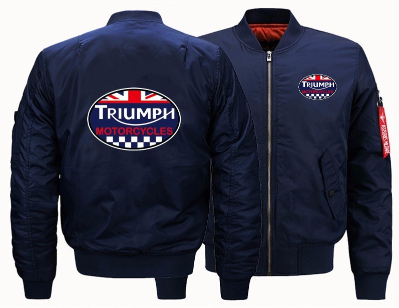2020 New Men's Flight Jacket Bomber Woolliner Print GREAT BRITAIN TRIUMPH MOTORCYCLE Fastest Speed Of Transportation Plus Size