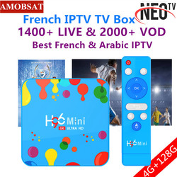 H96 Mini Android 9.0 Smart TV Box 6K H.265 Wifi HD Google Player Youtube Set top box + 1 year NEO pro French IPTV Subscription
