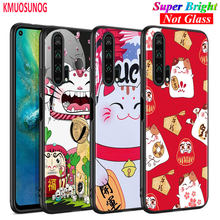 Black Silicone Cover Maneki Neko Lucky Money cat for Huawei Honor 10i 9X 8X 20 10 9 Lite 8 8A 7A 7C Pro Lite Phone Case(China)