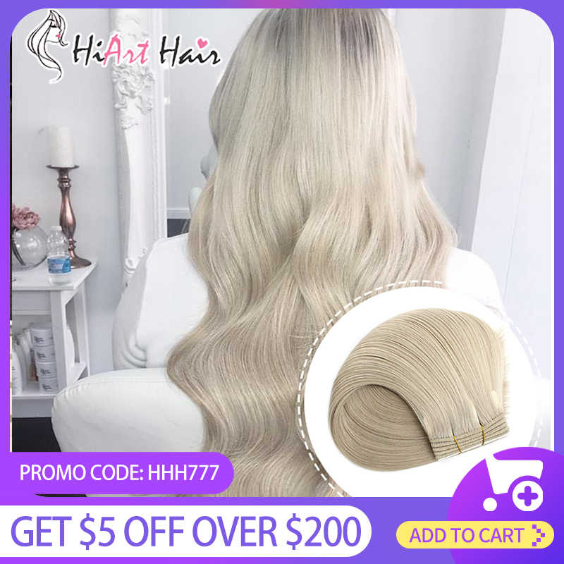 "Hiart 100G Inslag Hair Extensions Salon Super Double Drawn Human Remy Haar Fabriek Machine Gemaakt Naadloze Inslag Extension 18 ""-26"""