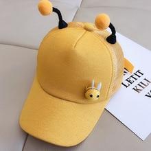Summer Childrens Baseball Cap Cartoon Little Bee Mesh Hats Casual Baby Boys Girls Breathable Sun Caps Kids Adjustable Snapback