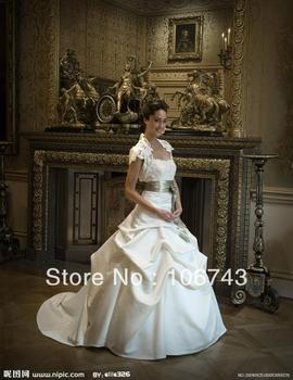 free shipping 2016 new fashion design vestidos satin lvory Formal Elegant ball gown lace jacket wedding Dresses bridal