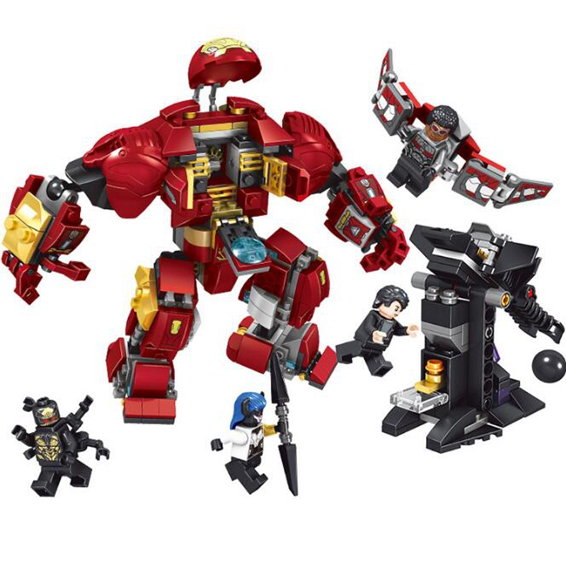 07102 Superhero Avengers Iron Man Mech Fight Set Small Particles Infinity War Childrens Educational Toys Gifts