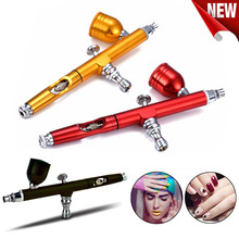 цена на Airbrush Tool Dual Action Gravity Feed 0.3mm Nozzle Spray Gun Cake Decorating Nail Art Tattoo DIY Body Paint With Wrench Straw