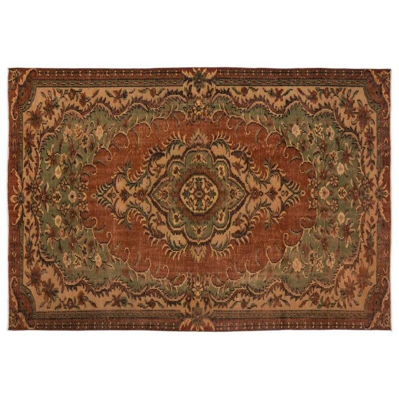Handmade Natural Vintage Turkish Area Rug 192x271 Cm-6'4''X8'11''