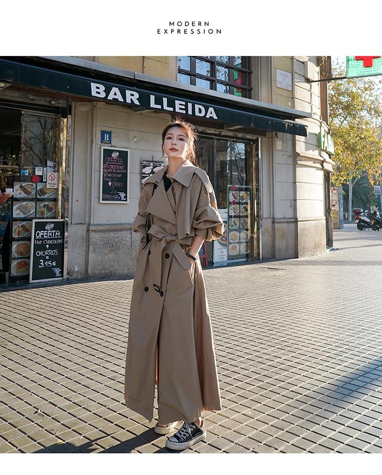 H5bb19ac2ef4e4ea7825cf0fe25970b71K Korean Style Loose Oversized X-Long Women's Trench Coat Double-Breasted Belted Lady Cloak Windbreaker Spring Fall Outerwear Grey