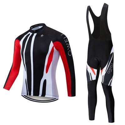 Men Long Sleeve Pro Cycling Jersey Bib Sets Wear MTB Uniform Dress Bicycle Clothing Kits Road Mountain Bike Clothes Suits Y238