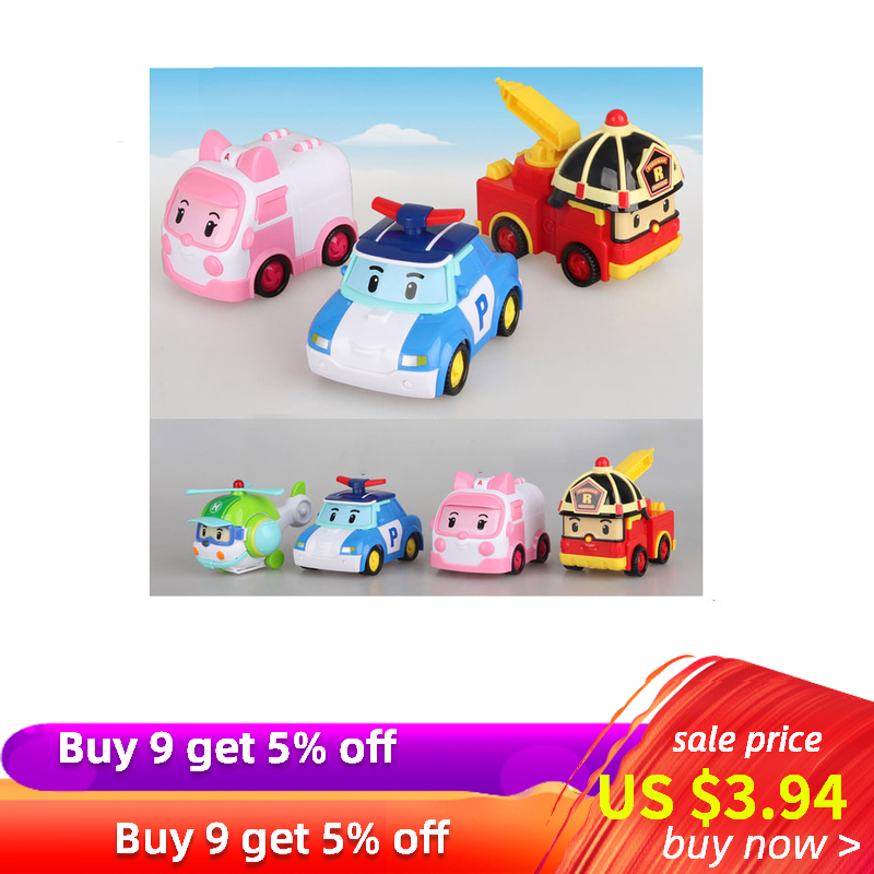 1Pcs Original Poli Robocar Toys 10cm Korea Poli Inertial Car Children Transformation Action Toys Figure Toys For Kids Gift