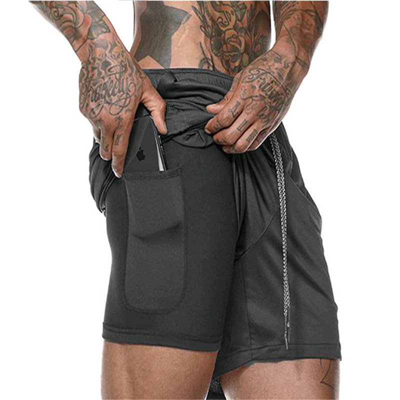 2019 New Double Layer Casual Shorts Men Summer Quick-drying Breathable Running Men Shorts Sports Training Fitness Short Pants