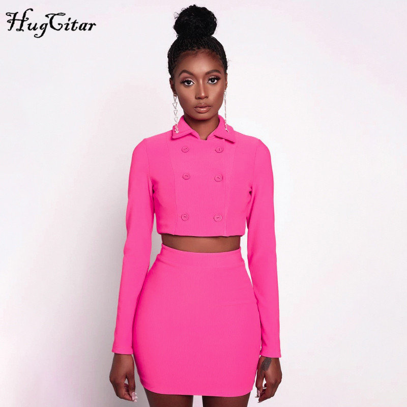 Hugcitar 2019 Long Sleeve Blazer Cropped Jacket Skirt 2 Pieces Sets Autumn Winter Women Pink Streetwear Office Lady Suits