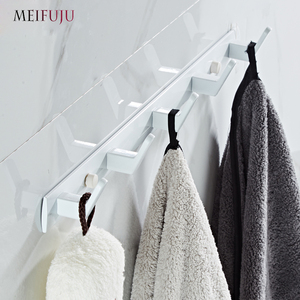 Image 4 - White Bathroom Hooks Aluminium Black Robe Hook  Metal Coat Hooks Wall Hook Door Hanger Clothes Robe Hook Hat Rack Multi function