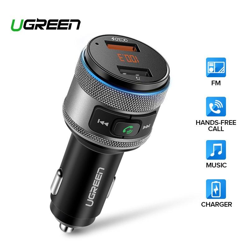 Ugreen usb carregador de carro bluetooth transmissor fm qc rápido 3.0 carga carregador rápido para xiaomi samsung iphone huawei qc3.0 carregador