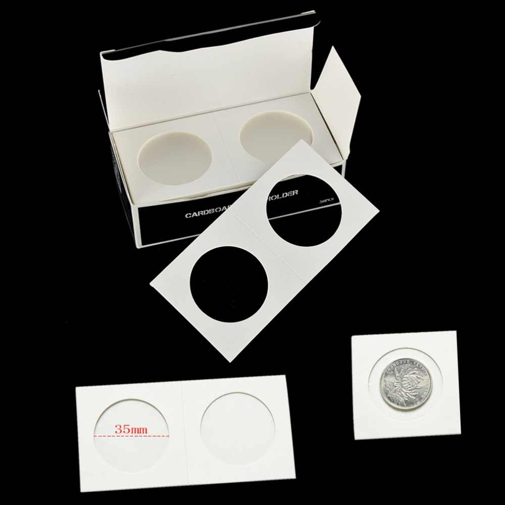 50pcs 40mm Assorted Mylar Cardboard Coin Holders Lighthouse Cover Case Storage