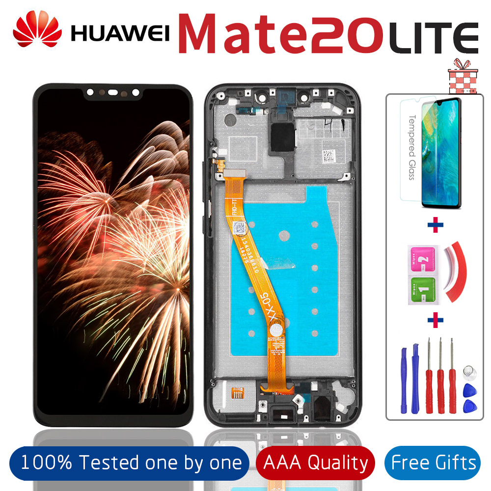 Tested Display with Frame for Huawei Mate 20 lite Lcd Touch Screen Digitizer Panel Glass for Mate20 Lite SNE-LX1 Full Assembly image