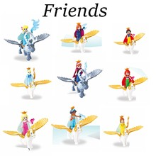 Legoing Friends Figures Princess with Flying Horse Toys Ariel Mermaid Cinderella White Snow Girls Bela Dolls Legoings Blocks Set(China)