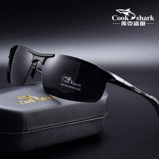 Cook Sharks new aluminum magnesium sunglasses mens sunglasses HD polarized driving drivers color glasses tide