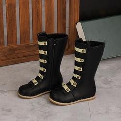 Zimowe dziewczęce wysokie buty dla dzieci pluszowe dziecięce rzymskie śniegowce oryginalne skórzane dziecięce buty połowy łydki modne buty wodoodporne