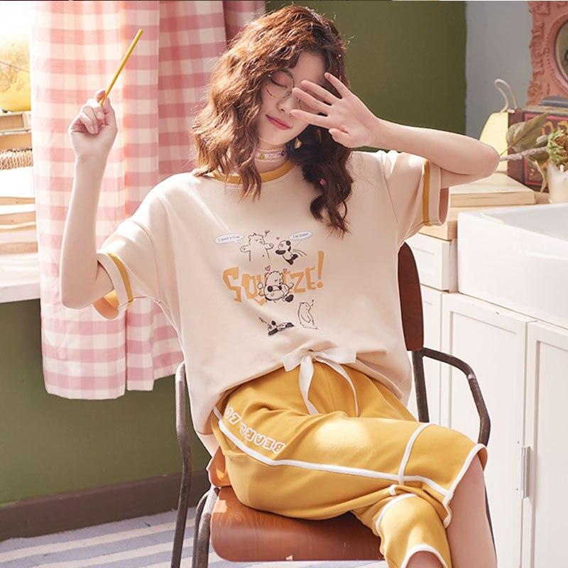 2019 Summer 6535 Sunken Stripe Pajamas WOMEN'S Suit Sweet Short Sleeve Capri Pants Tracksuit Piece 5544