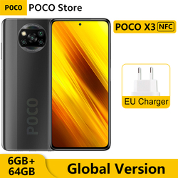 Глобальная версия Xiaomi POCO X3 NFC 6 Гб 64 Гб Смартфон Snapdragon 732 Octa Core 6,67 дюйм120 Гц DotDisplay 64-мегапиксельная четырехъядерная камера 5160 мАч
