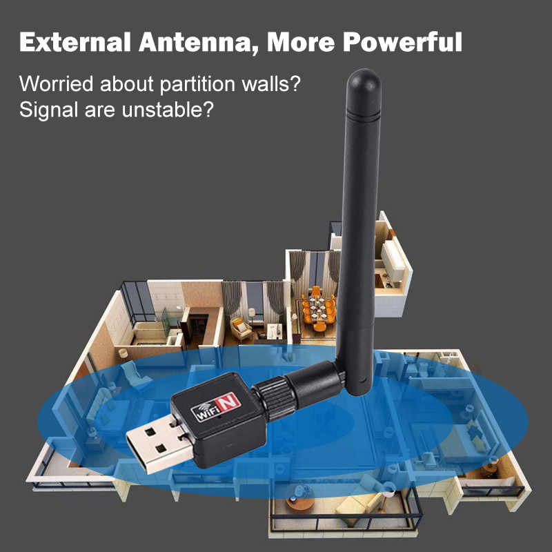 Adaptador wifi usb ethernet lan inalámbrico 802.11n portátil tarjeta dongle antena adaptador 2,4g 5ghz wi-fi receptor wi-fi 5g mini mbps