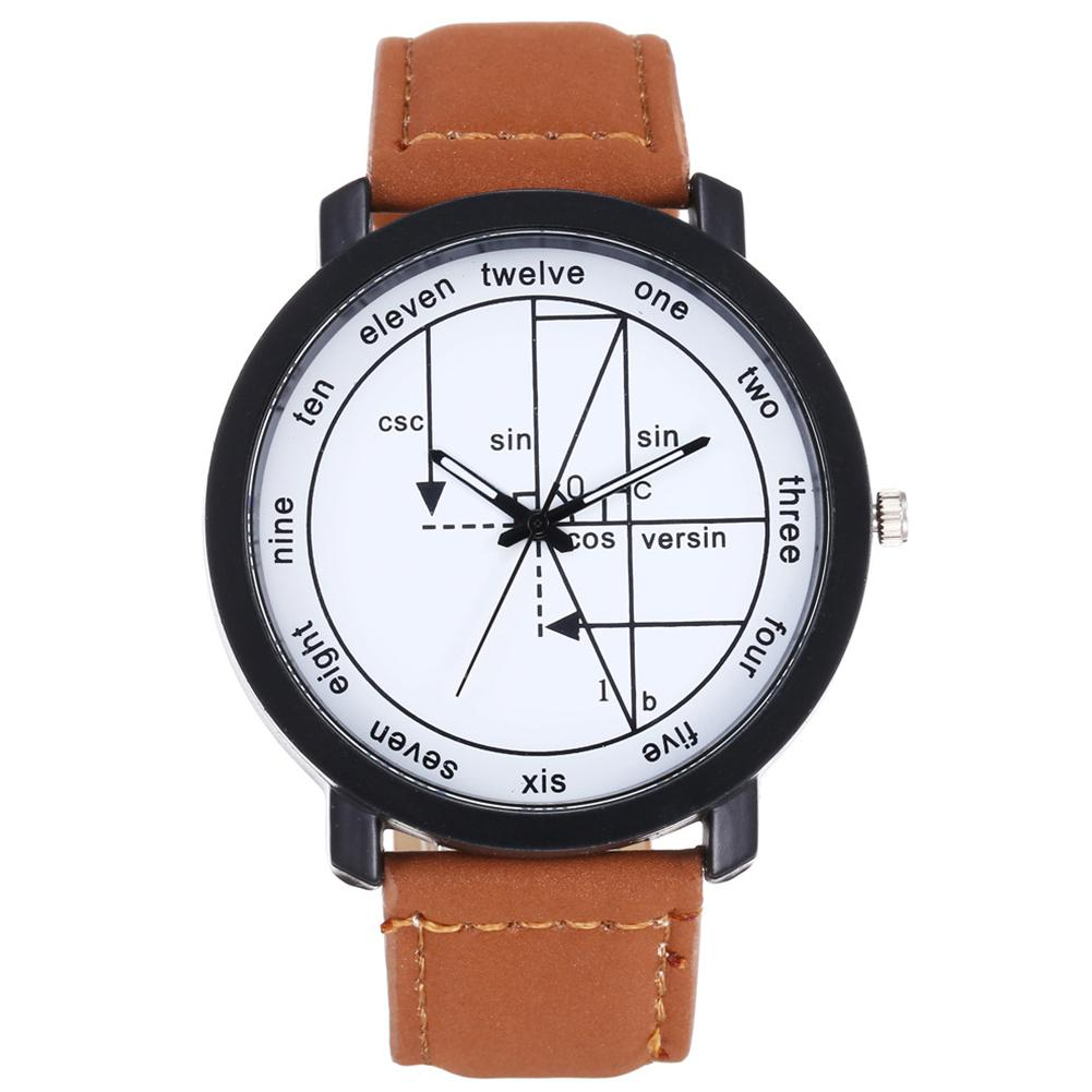 HobbyLane Fashion Unisex Round Dial Geometry English Scale Casual Quartz Watches