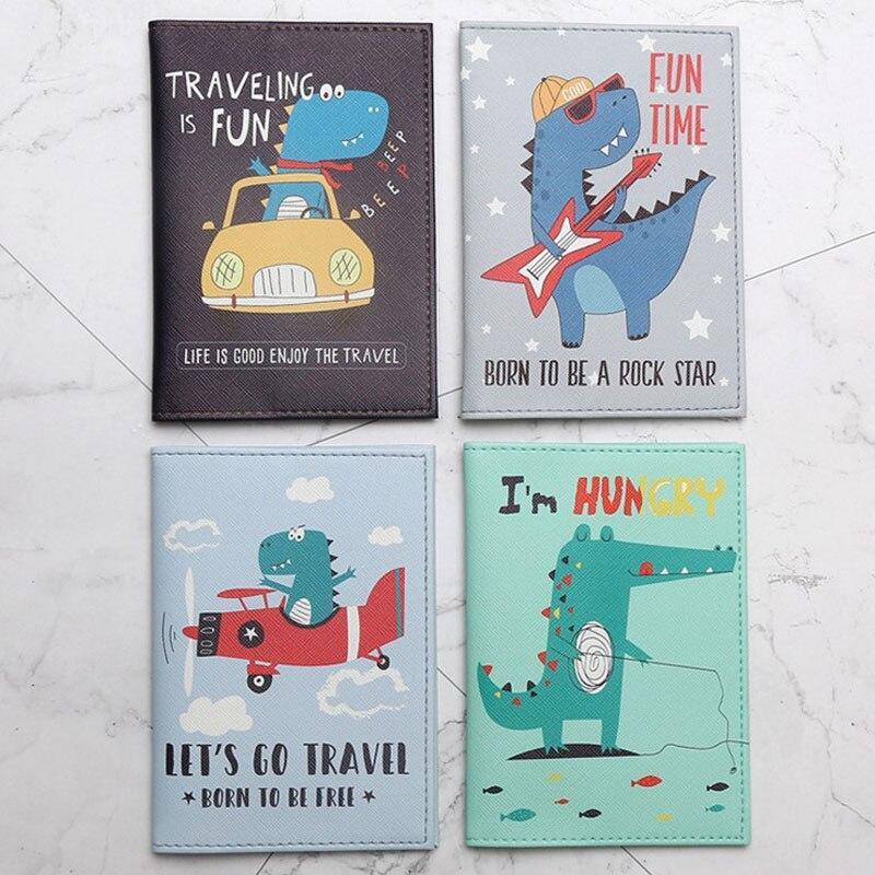 1 Pcs Hot Sale Cartoon Dinosaur Animals Passport Cover Men Women PU Leather Travel Passport Holder Case Card ID Holders