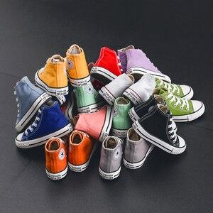 Image 3 - Çocuklar için kanvas ayakkabılar kız erkek çocuk ayakkabı botları beyaz siyah turuncu pembe yeşil kırmızı mavi
