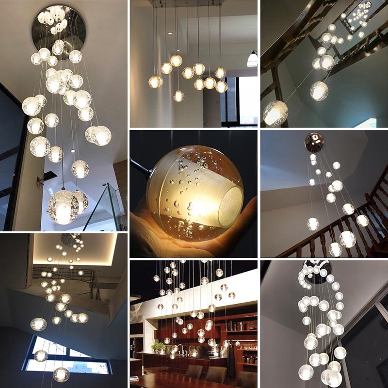 Modern LED Crystal Chandelier Lighting Large Hanging Lights Orb Cristal Lamps For Living Dining Room Staircase Hotel Decoration