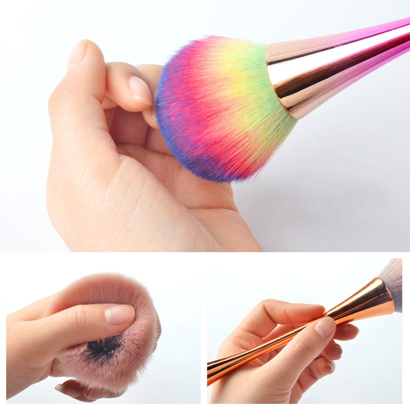 6 Colors Soft Fluffy Dust Cleaning Acrylic Nail Art Brush Pen Nail Glitter Remover UV Gel Powder Removal Manicure Tools