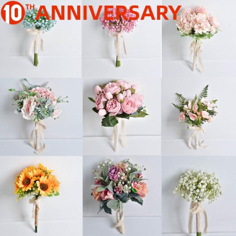 OLLYMURS Wedding Flowers Bridal Bouquets  Ramos De Novia Artificiales 11.8inch 0.2kg Cloth Flower  Wedding Accessories