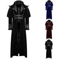 New Design Men Retro Gothic Coat Windbreaker Tailcoat Vintage Steampunk Long Coats Men 2019 Royal Style Vampire Cosplay Costume