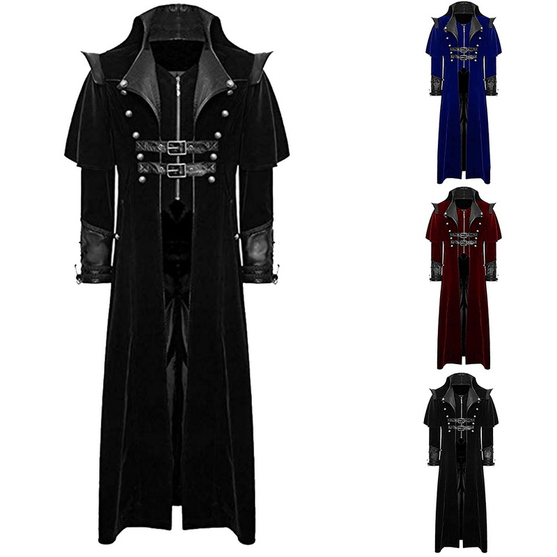 New Design Men Retro Gothic Coat Windbreaker Tailcoat Vintage Steampunk Long Coats Men 2019 Royal Style Vampire Cosplay Costume