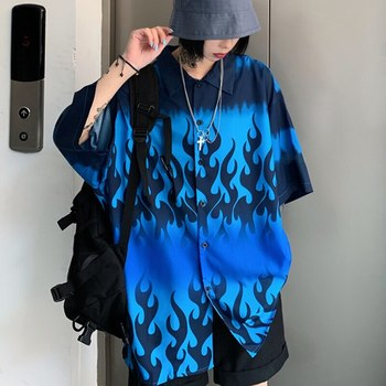 2021 Summer Spring Women Blouses BF style oversized shirts Harajuku Tops Dragon Printing Short Sleeve Shirts Female Streetwear 4