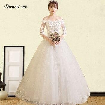 Wedding Dresses GR691 Three Quarter Sleeve Wedding Dresses Elegant Boat Neck Lace Bridal Gowns Plus Size Vestidos De Novia