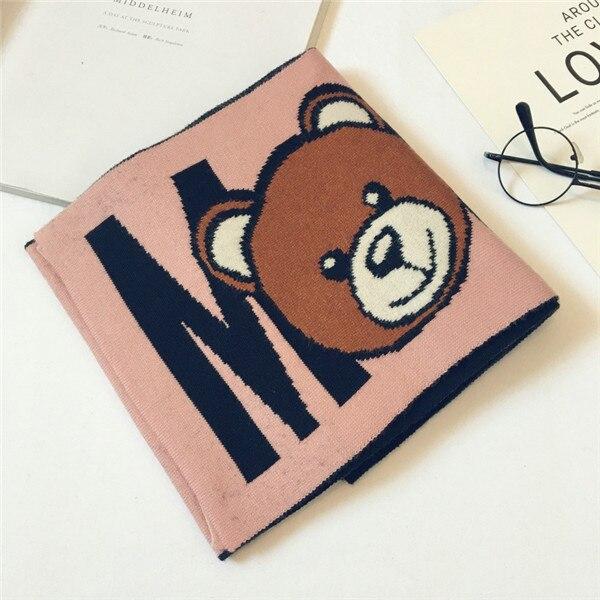 Корейская Клетчатая Шерстяная теплая осенне-зимняя одежда для мальчиков и девочек с рисунком медведя и надписями, шали, шарфы, аксессуары-LHC - Цвет: pink(high-grad)
