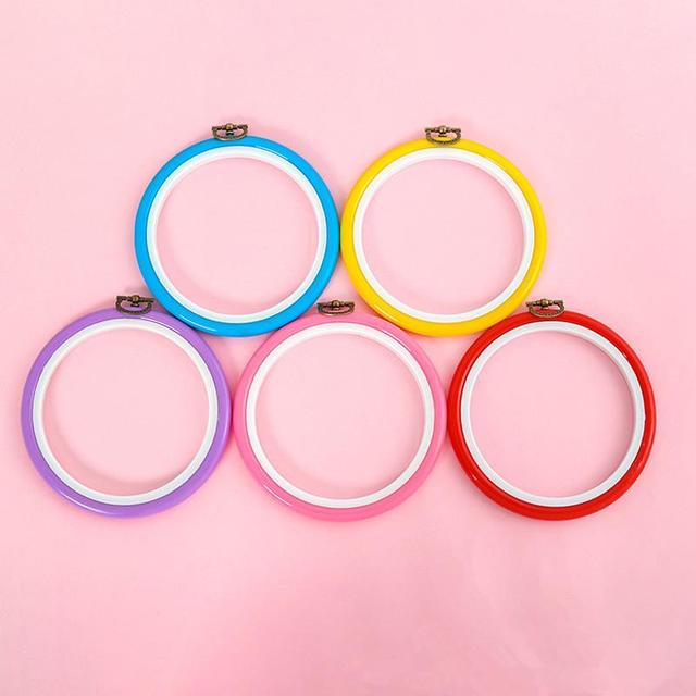 14cm 5.5 Inch DIY Embroidery Hoop Tool Art Craft Cross Stitch Circle Round Plastic Frame Colorful Sewing Manual Accessories