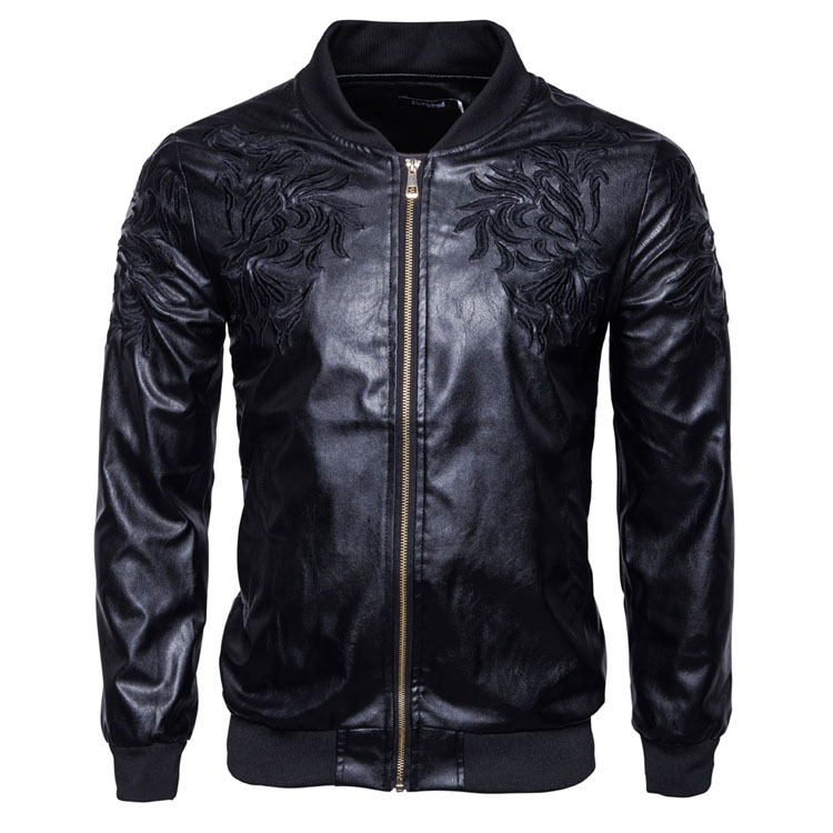 Men Autumn And Winter New Style Stand Collar Embroidered Leather Jacket Men's Korean-style Slim Fit Zipper Cardigan Solid Color