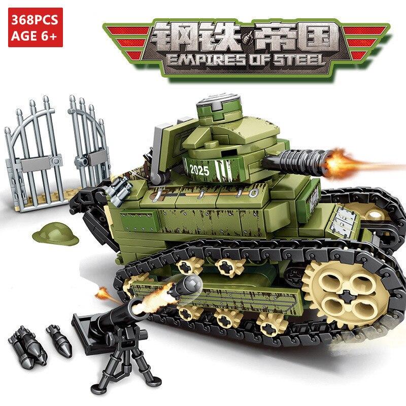 368Pcs WW2 Conjuntos de Blocos de Construção Do Tanque Do Exército Militar Renault FT-17 2 Técnica Soldado Arma DIY LegoINGLs Tijolos brinquedos para As Crianças