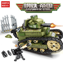 368Pcs WW2 Military Renault FT-17 Tank Building Blocks Sets Army Technic 2 Soldier Weapon DIY LegoINGLs Bricks Toys for Children