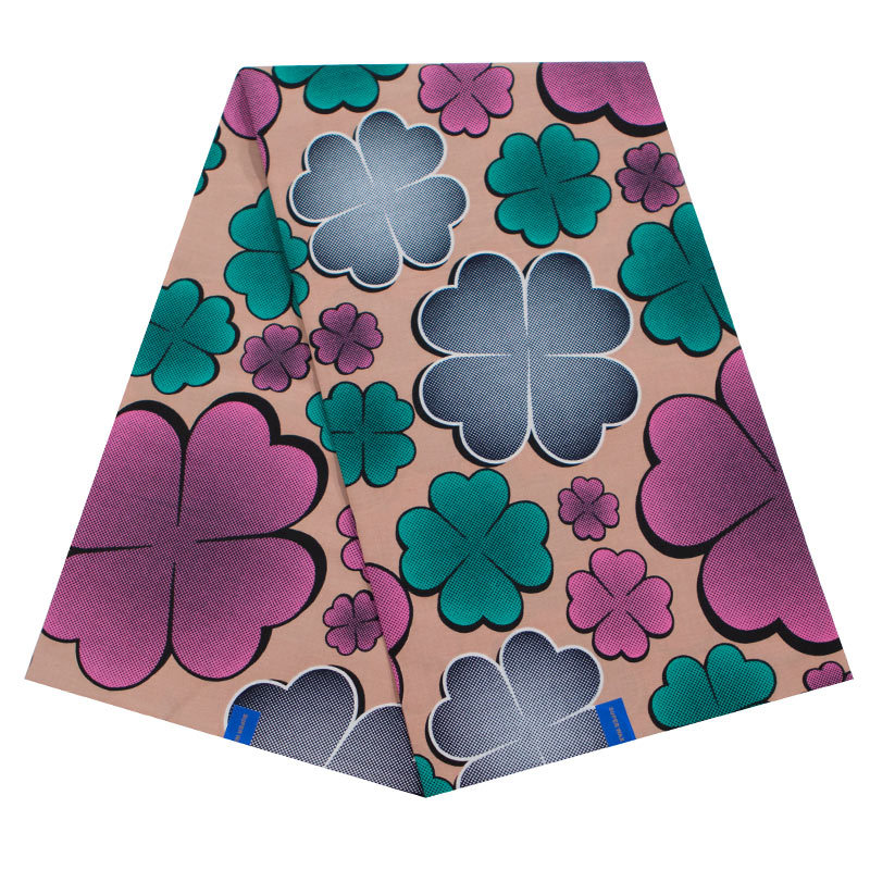 New African Fabric Pure Cotton Pink And Green Four-Leaf Clover Print Fabric For Women Dress Wax