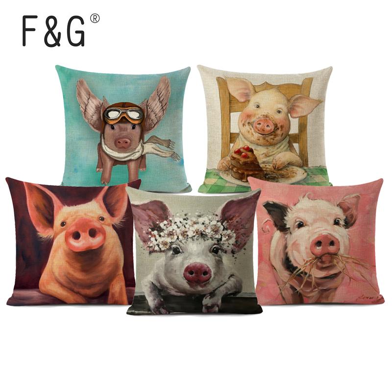 Linen Cushion Cover Cute Pig Pattern Cartoon Home Throw Sofa Pillowcase Bedroom Chair Waist Pillow Cover Decor