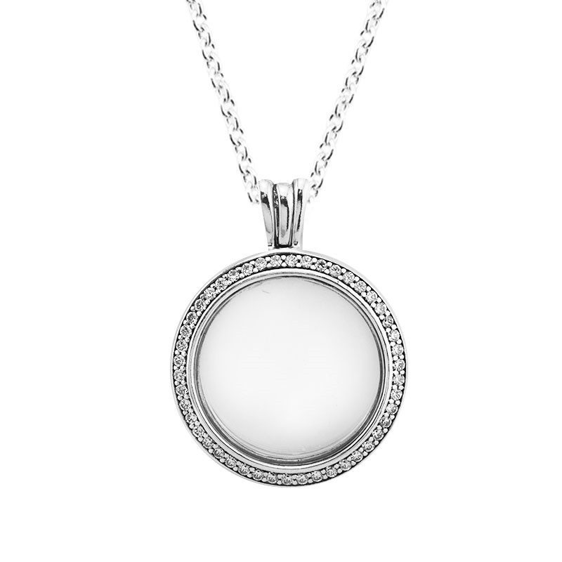 Clear CZ Medium Round Shape Floating Locket Necklaces for Women 925 Sterling Silver Necklaces DIY Jewelry Open Pendant Chain New