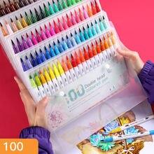 60 шт цветные ручки маркер двойной наконечник кисти художественные