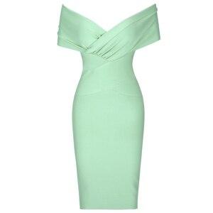 Image 4 - Cerf dame été femmes moulante robe de pansement 2019 nouveau vert hors épaule robe de pansement rayonne Sexy célébrité robes de soirée Club