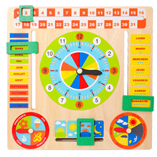 Baby Wooden Board Game Montessori Weather Season Time Cognitive Puzzles Child Early Learning Educational Figures Toys Xmas Gift