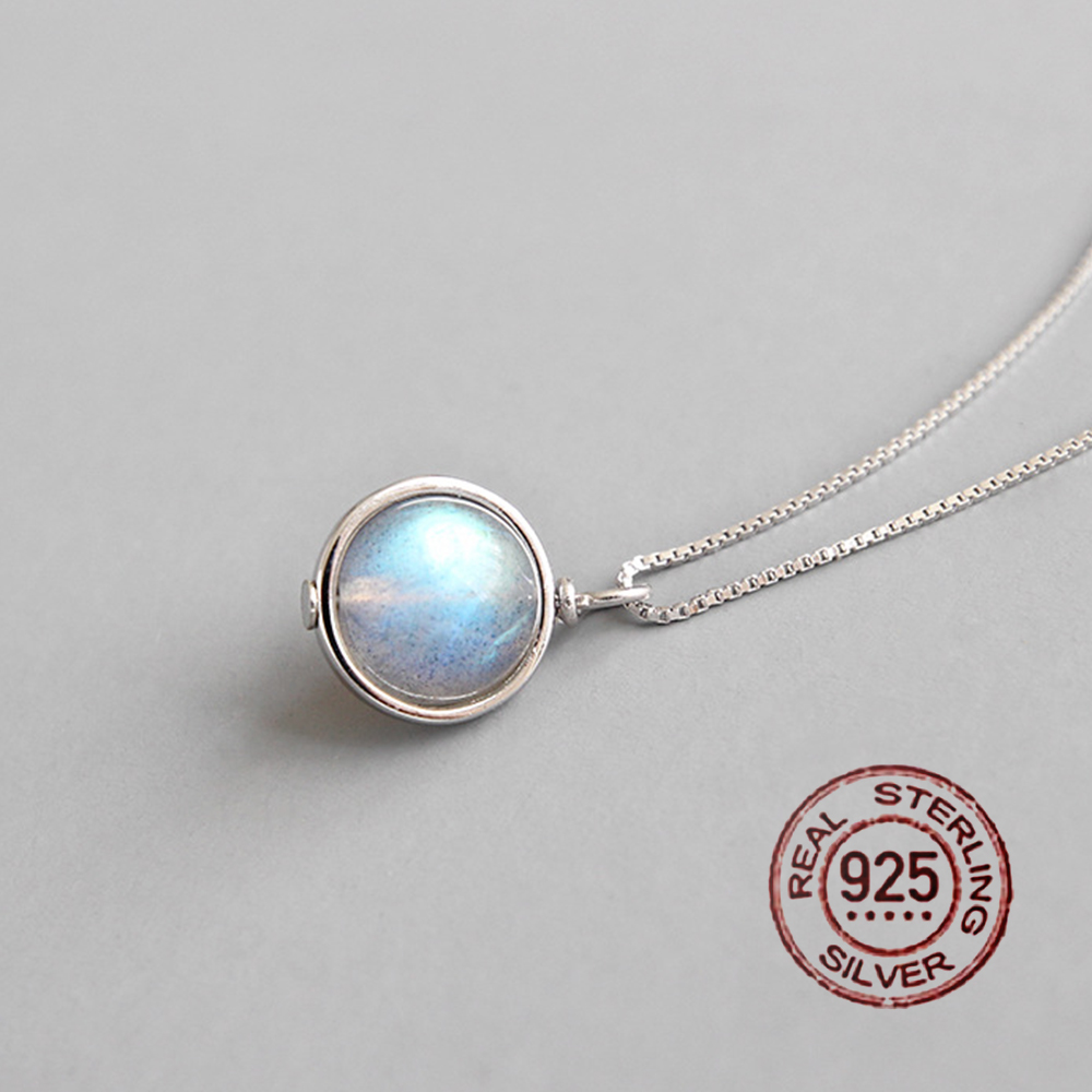 Genuine 100% 925 sterling silver moonstone pendant necklace women natural gemstone handmade fine jewelry Party Accessories 2019