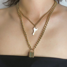 Gold Chain Key Padlock Pendant Necklace for Women Lock Choker Chocker collar collier femme collares naszyjnik