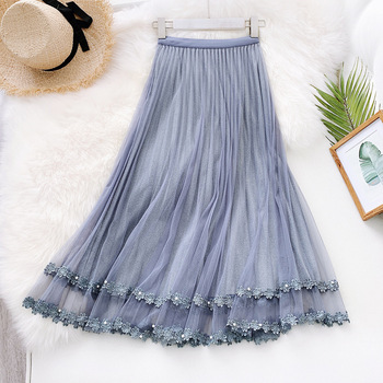 2020 Summer New High Waist Slim Tulle Skirts Mesh Patchwork Lace Skirts Vintage Embroidered Long Pleated Skirt Faldas Saias new summer casual long mesh skirts princess elastic high waist ruffled tiered tulle pleated maxi skirts faldas mujer moda