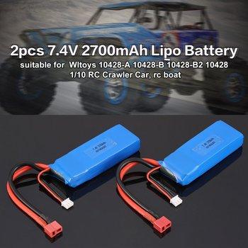 2019 2pcs 7.4V 2700mAh 20C 2S Lipo Batteria Con T Plug Per Wltoy 10428-A 10428-B 10428-B2 10428 1/10 RC Crawler Auto Feilun FT012