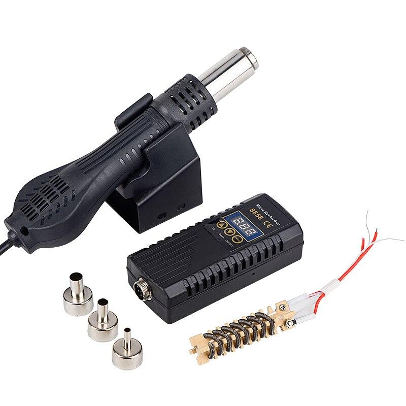 JCD пистолет горячего воздуха 8858 микро паяльная станция светодиодный цифровой фен для пайки 700 Вт Сварка тепловой пушкой Инструменты для рем... title=